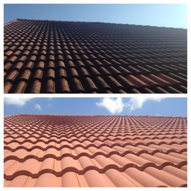 Dirty roof and clean roof after All American Pressure Cleaning in Boca Raton, FL