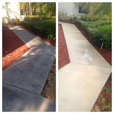 Concrete cleaning by All American Pressure Cleaning in Boca Raton, FL.