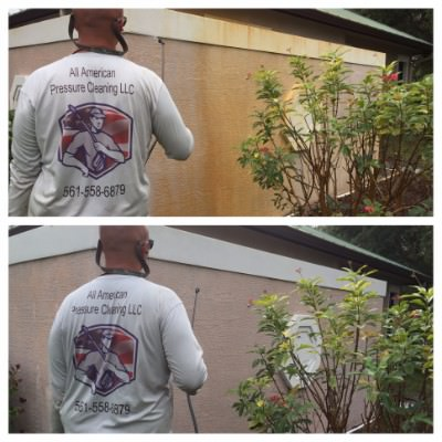 All American Pressure Cleaning tech power washing a home in Palm Beach, FL.
