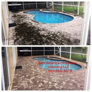 Pool deck cleaning by All American Pressure Cleaning, your power washing experts in Palm Beach, FL and Boca Raton